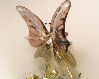 Purple Gold White Hand Made Butterfly Ornament Signed G China