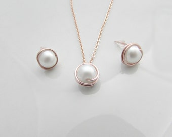 Pearl Necklace and Earring Set, Rose Gold Pearl Necklace, Bridesmaid Gifts, Pearl Jewelry Sets,  Bridesmaid Jewellery Sets, UK Shop, For Mom