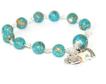Padre Pio Rosary Bracelet, Catholic Saint Bracelet, Turquoise Mosaic Stone Beads