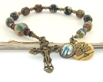 Man's Pocket Rosary, Tenner Style with Brass Crucifix, Our Lady of Grace & Tree of Life Medals