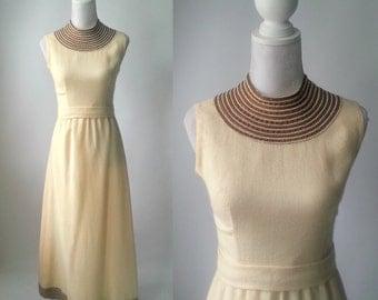 1960 Dress, Vintage Dress, Vintage 60s Dress, Vintage Maxi Dress, Retro 60s Dress, Cream Wool Dress, Sleeveless 1960 Dress, Jack Mann, Mod