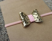 Gold and Pink Glitter {PRESLEY} Headband - Nylon Headbands - One Size Fits All