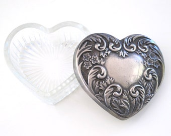 Vintage Glass Heart Jewelry Trinket Box with Silver Plate Lid Mother's Day Gift