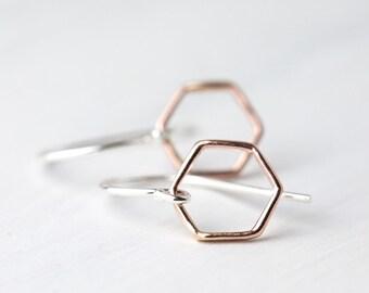 Rose Gold & Silver Earrings, Minimal Earrings, Gift for Women, Hexagon Earrings, Silver Jewelry, Women Gift, Jewelry for Women, Minimalist