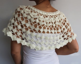 Ivory Cream Bridal Cape Shrug, Bridesmaids Shawl Stole Gift, Shiny Crochet Bolero, Dress Cover-up Winter Wedding Made to Order