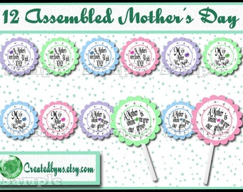 Mother's Day Cupcake Toppers Grandmother cupcake picks Decorations Custom mothers day favor cake topper Mom cupcake top 12 assembled