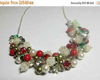 30% Off SALE thru Mon Red Green Pearl Necklace, Christmas Gift, LAST ONE, Mom Sister Grandmother Girlfriend Jewelry Gift, Limited