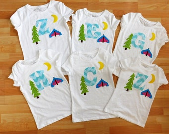 Birthday party favors - Glamping glamour camping personalized initial applique SHIRT, girlie tent, mountain, tree, girl toddler tween
