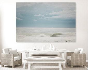Blue Ocean Photography, Ocean art print, wall art, beach decor, grey blue, beach, wave, sand, breaking waves water, sea, beach decor florida