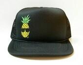 COOL PINEAPPLE  - MESH Hat Handmade Trucker Hat Snapback Baseball Cap