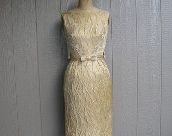 Vintage 50s GOLD DIGGER GIRL Sheath Dress