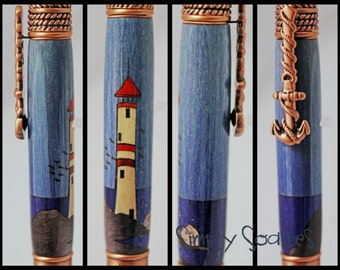 Hand Crafted Nautical Pen - Lighthouse Inlay