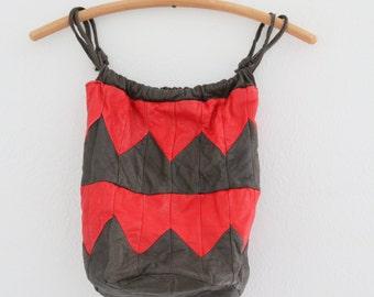 1980s Leather Bag Zig Zag Stripes Southwest African Handmade Drawstring Womens Vintage Purse
