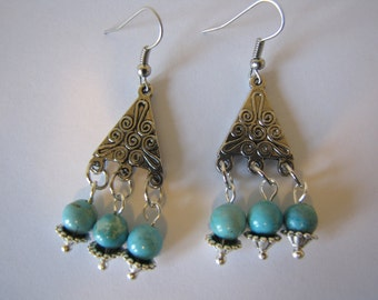 Turquoise bead earrings/dangle earrings/boho jewelry