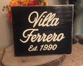 VILLA Custom Italian Country HP Sign Plaque Family Name Year Chic Shabby Personalized Hand Painted Wooden You Pick Color Housewarming