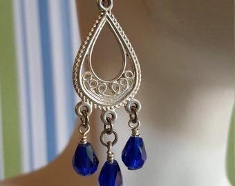 BOHO Blue Chandelier Earrings