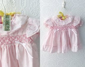 Vintage Baby Girl's Dress, Pink Hearts and Lace with Ruffles, Easter Dress, Puffed Sleeves, Cotton, Smocking and Bows, by Mayfair, Size 6 mo
