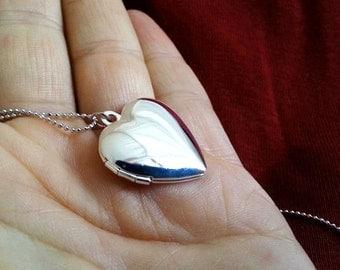 Heart Locket Necklace. Silver Heart Locket. Keepsake Necklace. Smal. Photo Locket. Heart Locket. Layering Layered. Valentines Day