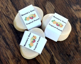 Goats Milk Soap,Tropical Punch, 3 oz bar, Cold Process Soap, Summer Soap, Sweet Soap, Raspberry Tea, Strawberry, Tangerine, Sour Candy Soap