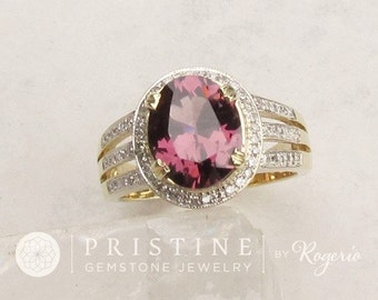 Purple Spinel Ring 3.04cts 14k Gold and Diamond Accented Triple Shank Ring