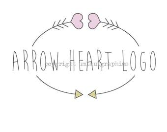 Premade Logo Hearts and Arrows Etsy Shop Branding