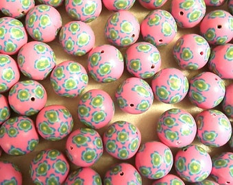 20 Fimo Polymer Clay Round Beads Pink Green flowers beads 12mm