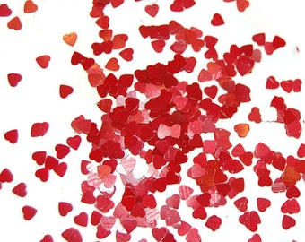 Dark Red SOLVENT RESISTANT Glitter HEARTS - 1 Fl. Ounce for Glitter Nail Art, Glitter Nail Polish and Glitter Crafts
