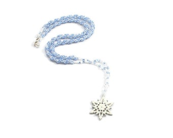 Snowflake Necklace - Seed Bead Jewelry - Blue Beaded Rope Necklace - Beadwork Jewelry - Handmade Necklace