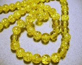Crackle Glass Gold Beads  8MM