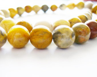 Crazy Agate Gemstone Golds Browns Grays Rusts Round 10MM