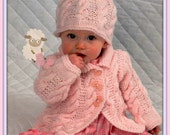 PDF Knitting Pattern for a Babies Aran Knit Coat & Hat Set - Instant Download