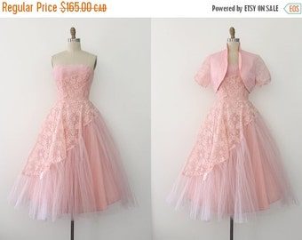 SUMMER SALE vintage 1950s dress // 50s pink lace evening prom dress with jacket
