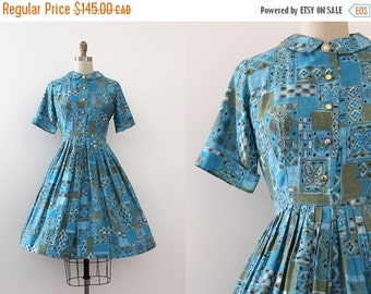 SUMMER SALE vintage 1950s dress // 50s Mid Century cotton shirtwaist dress