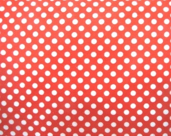 Flannel Fabric by the Yard in a Red and White Polka Dot Print 1 Yard