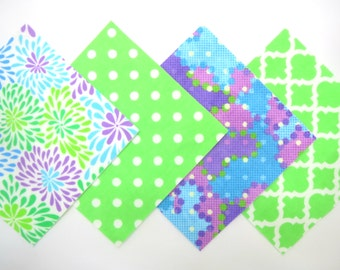 """48 Cotton Flannel 6""""x6"""" Pre Cut Quilt Square Kit in a Bundle of Bright Flowers, Green, Aqua and Lavender Matching Prints"""