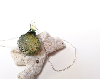 Charm Necklace, Crystal Pendant Necklace, Seaglass jewelry, Boho necklace, Sea Green Large
