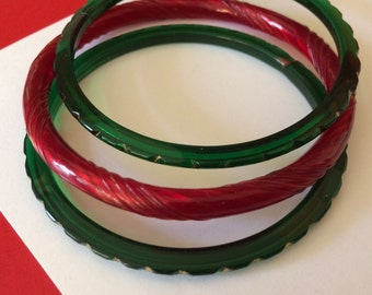 Holiday Taffy Red and Green and Gold Bangles