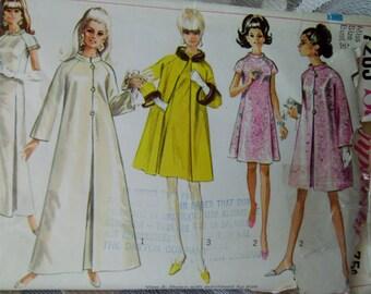 Sewing Pattern Formal Long Dress Coat Short Dress Coat Circa 1960 Simplicity Stand up Collar