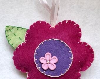 Felt and button flower ornament