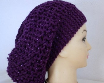 Purple Silvery Knit Hat, Winter Hat, Slouchy Beanie, Knit Beanie, Womens Hats, Chunky Knit Hat, Girl Gifts, Teen Gift Gift Ideas For Her