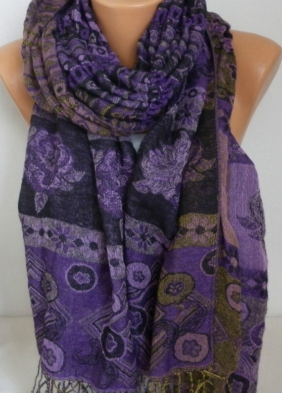 Purple Knitted Bohemian Shawl,Fall Winter Shirred Scarf,Oversize Cowl Scarf Gift Ideas For Her Women's Fashion Accessories, Christmas Gift