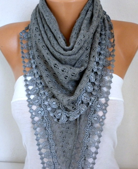 Gray Knitted Lace Scarf Shawl Cowl Oversized Bridesmaid Bridal Accessories Gift Ideas For Her Women Fashion Accessories Winter Scarf