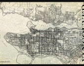 Vancouver Map Vintage Street Map Print Poster Title Gray Grunge
