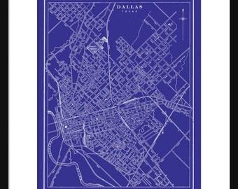Blueprint map etsy dallas map blueprint map poster print vintage malvernweather Gallery
