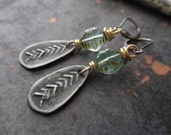 Rustic tribal earrings - Pond - dainty blue green glass sterling silver artisan dangle earrings boho by slashKnots