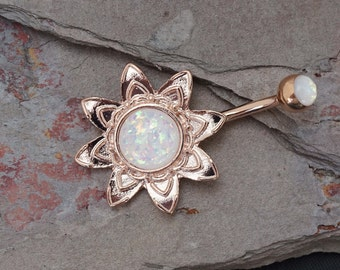 14 kt Rose Gold Opal Belly Button Rings Blooming Flower Belly Button Ring