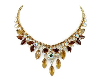 Fabulous Vintage D&E JULIANA Sparkling Topaz and Ab Rhinestone Bib Necklace Book Piece!
