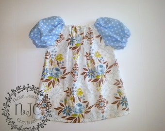 Boutique Floral Peasant Tunic - Hand Made Girls Top - Ready to Ship