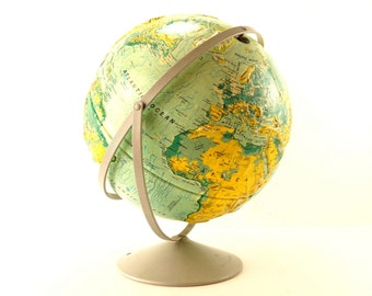 "Vintage Nystrom Sculptural Relief World Globe with Metal Stand, 16"" diameter (c.1991) - Extra Large School Globe"