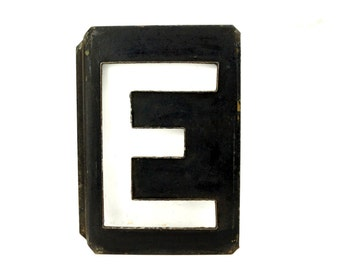 "Vintage Metal Letter ""E"" Moonglo Marquee Letter, 13"" tall (c.1900s) - Industrial Home Decor, Typography Collectible"
